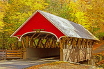 Pemigewasset River Covered Bridge in Autumn, Historic 19th Century Wooden Bridge, The Flume, Franconia Notch State Park, White Mountains, Lincoln, New Hampshire
