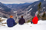 Hikers on Mt. Willard Summit Viewing Crawford Notch in Winter, U-Shaped Glacial Valley, Crawford Notch State Park, White Mountains, New Hampshire