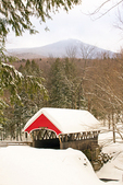 Pemigewasset River Covered Bridge and Mount Liberty in Winter, Historic 19th Century Wooden Bridge, The Flume, Franconia Notch State Park, White Mountains, Lincoln, New Hampshire
