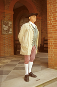 Man Standing at Capitol Building, House of Burgesses, Colonial Williamsburg, Virginia