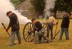9th Mass Artillery Civil War Reenactors Firing Cannon, Fort Warren, George's Island, Boston Harbor Islands, Massachusetts