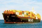 MSC Christina Container Ship in Boston Harbor, Boston, Massachusetts