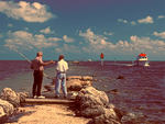 Fishermen on jetty/Convoy Point/Biscayne National Park, Florida