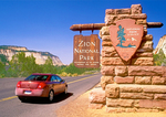 Entrance Sign and Park Road, Zion National Park, Utah