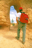 Hiker at Window, Queen's Garden Trail, Erosional Formations, Bryce Canyon National Park, Utah