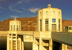 Hoover Dam Intake Towers, Boulder Dam Intake Towers, Concrete Arch-Gravity Dam in the Black Canyon of the Colorado River, Arizona and Nevada