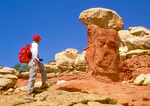 Hiker and Erosional Formations, Cohab Canyon, Capitol Reef National Park, Utah