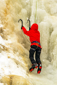 Ice Climbing on Arethusa Falls in Winter, Crawford Notch State Park, White Mountains, New Hampshire