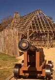 Cannon and Barracks, Historic Jamestowne, Colonial National Historical Park, Jamestown, Virginia
