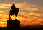 Stonewall Jackson Statue at Sunset, Manassas National Battlefield Park, American Civil War, Virginia
