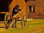 Reenactor Loading Cannon, Old Fort Jackson, Savannah, Georgia