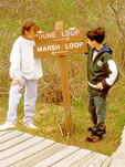Children at Trail Sign, Hellcat Swamp Trail, Parker River National Wildlife Refuge, Plum Island, Newburyport, Massachusetts