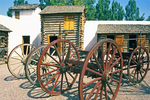 Wagon Wheels and Buildings, Fort Hall Replica, Oregon Trail, Pocatello, Idaho