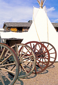 Wagon Wheels and Tipi, Fort Hall Replica, Oregon Trail, Pocatello, Idaho
