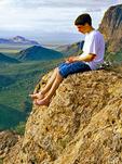 Teenager Listening to Ipod, Estes Canyon, Organ Pipe Cactus National Monument, Arizona