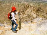 Hiker on Piestewa Peak Summit, Hiker on Squaw Peak, Phoenix Mountains Park, Phoenix, Arizona