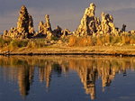 Mono Lake Tufa Towers Reflection, Calcium Carbonate Limestone Rock Formations, Mono Lake, California