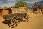 Wagon and Buildings, El Rancho de las Golondrinas, Ranch of the Swallows, Spanish Colonial Living History Museum, Santa Fe, New Mexico