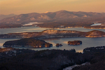 Evening Light on Lake Winnipesaukee in Winter from Mount Major, Belknap Mountains, Alton, New Hampshire