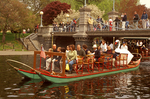 Swan Boats, Tourists on Suspension Bridge, Boston Public Garden, Boston, Massachusetts