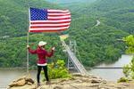 Hiker on Bear Mountain Summit, Bear Mountain State Park, Hudson River Valley, New York