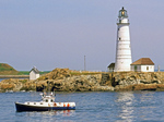 Boston Light and Boat, First American Lighthouse, Little Brewster Island, Boston Harbor Islands, Massachusetts