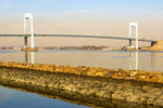Throgs Neck Bridge, Metal Suspension Bridge, East River and Long Island Sound, Bronx and Queens, New York City, New York