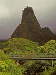 Footbridge and Iao Needle, Iao Valley State Monument, Maui, Hawaiian Islands, Hawaii