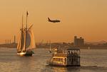Boston Belle Tourboat, Airplane, Liberty Clipper Tall Ship Sailboat, Sunset, Mystic Tobin River Bridge, Boston Harbor, Massachusetts