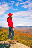 Hiker on Welch Mountain in Autumn, Waterville Valley, White Mountains, New Hampshire