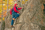 Hiker on Precipice Trail Rungs, Autumn Foliage, Mt. Champlain, Acadia National Park, Maine
