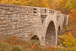 Duck Brook Carriage Road Bridge in Autumn, Mount Desert Island, Acadia National Park, Maine