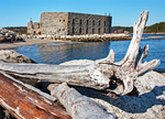 Driftwood on Beach, Fort Popham State Historic Site, Coastal Fortification, Phippsburg, Maine
