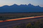 Car Streaks in Grand Teton National Park, Teton Mountain Range, Jackson Hole, Wyoming