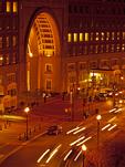 Boston Harbor Hotel and Cars at Night, Boston, Massachusetts