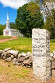 Martha Mary Chapel and Historic Stone Road Sign, Sudbury Massachusetts