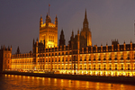 Westminster Palace at Night, Perpendicular Gothic architectural style, London, England, United Kingdom