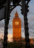 Big Ben Clock Tower Framed in Fence, London, England, United Kingdom