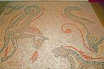 Stone and Ceramic Roman Sea Beasts Hippocamp Mosaic Floor Remnant, Roman Baths, Aquae Sulis, Bath, England, United Kingdom