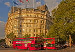 Grand Buildings Office Building and Red Double Decker Buses, 1 Trafalgar Square, London, England, United Kingdom