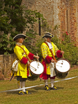 British Military Musicians Playing at Dunster Castle, Taunton Garrison, Royalist Militia, Exmoor National Park, Somerset, England, United Kingdom, Great Britain