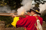 British Soldier Reenactors Firing Muskets at Dunster Castle, Taunton Garrison, Royalist Militia, Exmoor National Park, Somerset, England, United Kingdom