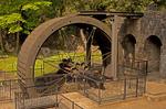 Waterwheel and Turbine, Aberdulais Falls, Aberdulais, Neath, South Wales. Lower Pennant Sandstone, River Neath, Wales, United Kingdom, Great Britain
