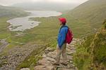 Hiker on Llyn Idwal Trail, Cwm Idwal National Nature Reserve, Snowdonia National Park, Wales, United Kingdom, Great Britain, British Isles