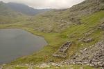 Lynn Teryn and Miner's Baracks Ruins, Miner's Trail, Mount Snowdon, Snowdonia National Park, Wales, United Kingdom, Great Britain