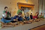 Pembroke Castle Banquet Display Representation, Castell Penfro, Medieval Castle, Pembroke, Wales, United Kingdom, Great Britain
