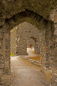 Passageway, Kidwelly Castle, Castell Cydweli, Medieval Norman castle, Kidwelly, Carmarthenshire, Wales, United Kingdom, Great Britain
