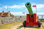 Cannon and Flags at Fort Ticonderoga, 18th-century American Revolutionary Fort, New York