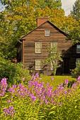 Allen House and Pink Flowers, Historic Deerfield, Deerfield, Massachusetts