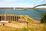 Battery Weed, Container Ship in New York Harbor, Verazano Narrows Bridge, Fortification and Lighthouse, Fort Wadsworth, Gateway National Recreation Area, Staten Island, New York